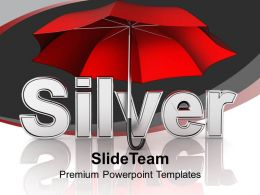 Illustration Of Silver Word Under Umbrella PowerPoint Templates PPT Themes And Graphics 0213