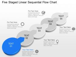 im Five Staged Linear Sequential Flow Chart Powerpoint Template