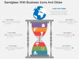 Im Sandglass With Business Icons And Globe Flat Powerpoint Design