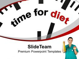 Image Of Clock With Quote Time For Diet PowerPoint Templates PPT Backgrounds For Slides 0213