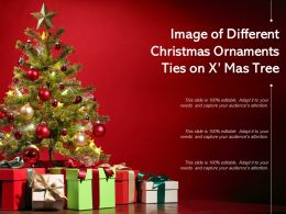 Image Of Different Christmas Ornaments Ties On Xmas Tree