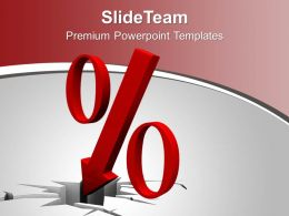 Image Of Down Red Percent Arrow PowerPoint Templates PPT Themes And Graphics 0213