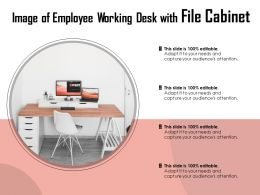 Image Of Employee Working Desk With File Cabinet