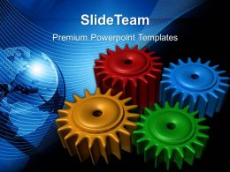 Image Of Gear Powerpoint Templates Colored Gearwheels Business Ppt Slides