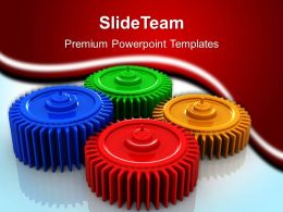 Image Of Gear Powerpoint Templates Colorful Gears Industrial Business Ppt Backgrounds