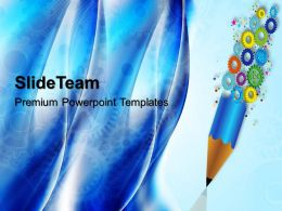 Image Of Gears Powerpoint Templates And Pencil Industrial Business Ppt Theme