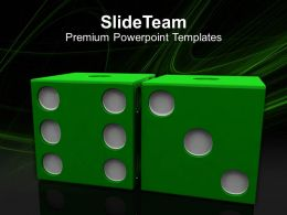 Image Of Green Dices On Grey Backgrounds Powerpoint Templates Ppt Themes And Graphics 0213