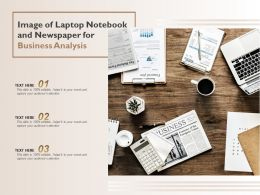 Image Of Laptop Notebook And Newspaper For Business Analysis