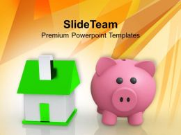 Image Of Piggy Bank With Home Powerpoint Templates Ppt Backgrounds For Slides 0213