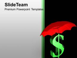 Image of Red Umbrella Dollar Sign PowerPoint Templates PPT Themes And Graphics 0213