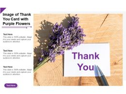 Image Of Thank You Card With Purple Flowers