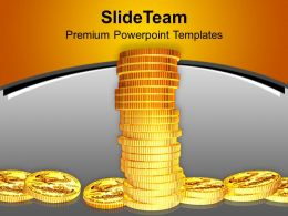Image Of Tower Made Of Gold Coins PowerPoint Templates PPT Themes And Graphics 0213