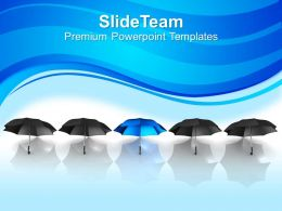 Image Of Unique Blue Umbrella Powerpoint Templates Ppt Themes And Graphics 0213