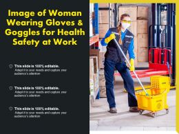Image Of Woman Wearing Gloves And Goggles For Health Safety At Work
