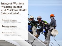 Image Of Workers Wearing Helmet And Mask For Health Safety At Work
