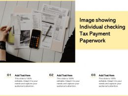 Image Showing Individual Checking Tax Payment Paperwork
