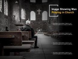 Image Showing Man Praying In Church