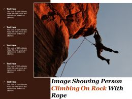 Image Showing Person Climbing On Rock With Rope