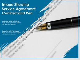 Image Showing Service Agreement Contract And Pen