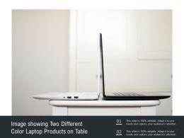 Image Showing Two Different Color Laptop Products On Table