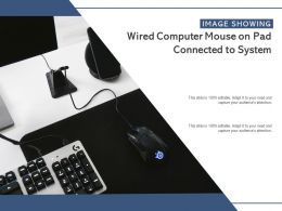Image Showing Wired Computer Mouse On Pad Connected To System