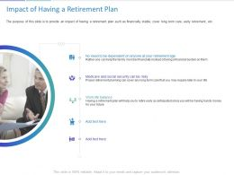 Impact Of Having A Retirement Plan Ppt Powerpoint Presentation Infographic