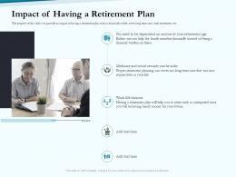 Impact Of Having A Retirement Plan Social Pension Ppt Mockup