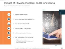 Impact Of HRMS Technology On HR Functioning Technology Disruption In HR System Ppt Pictures