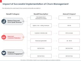 Impact Of Successful Implementation Of Churn Management Retention Ppt Powerpoint Presentation Model