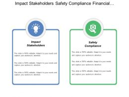 Impact Stakeholders Safety Compliance Financial Assistance Enforce Support
