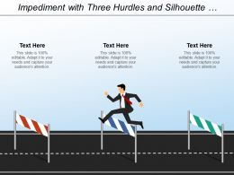Impediment With Three Hurdles And Silhouette Jumping