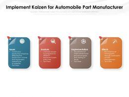 Implement Kaizen For Automobile Part Manufacturer