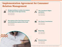 Implementation Agreement For Consumer Relation Management Reporting Ppt File Elements