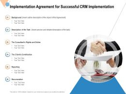 Implementation Agreement For Successful CRM Implementation Ppt Powerpoint Presentation