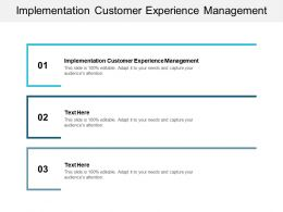 Implementation Customer Experience Management Ppt Powerpoint Presentation Pictures Cpb