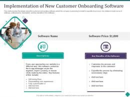 Implementation Of New Customer Onboarding Software Customer Onboarding Process Optimization