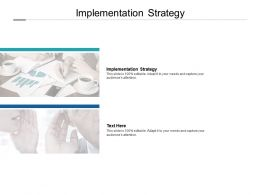 Implementation Strategy Ppt Powerpoint Presentation Model Layouts Cpb