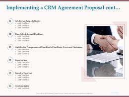 Implementing A CRM Agreement Proposal Cont Confidentiality Ppt Powerpoint Example Topics
