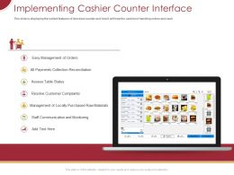 Implementing Cashier Counter Interface Ppt Powerpoint Presentation Professional Mockup