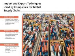 Import And Export Techniques Used By Companies For Global Supply Chain