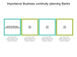 Importance Business Continuity Planning Banks Ppt Powerpoint Presentation Layouts Layout Ideas Cpb