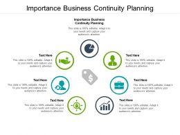 Importance Business Continuity Planning Ppt Powerpoint Presentation Portfolio Icons Cpb