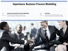 Importance Business Process Modelling Ppt Powerpoint Presentation Model Templates Cpb