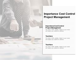 Importance Cost Control Project Management Ppt Powerpoint Presentation Ideas Cpb