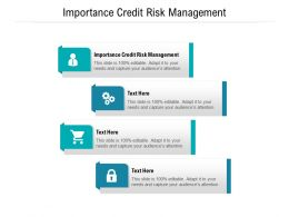Importance Credit Risk Management Ppt Powerpoint Presentation Infographics Show Cpb