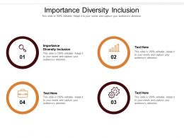 Importance Diversity Inclusion Ppt Powerpoint Presentation Slides Brochure Cpb
