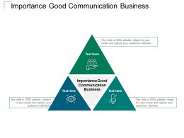 Importance Good Communication Business Ppt Powerpoint Presentation Show Cpb