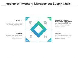 Importance Inventory Management Supply Chain Ppt Powerpoint Presentation Clipart Cpb