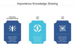 Importance Knowledge Sharing Ppt Powerpoint Presentation Inspiration Templates Cpb