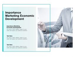 Importance Marketing Economic Development Ppt Powerpoint Presentation Inspiration Introduction Cpb